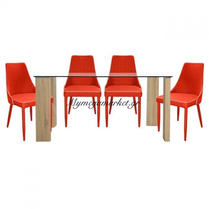 Σετ Τραπεζαρία 5Τ Τραπέζι Morgan 140X80-Moli Κόκκινες Hm10079.04 | Mymegamarket.gr