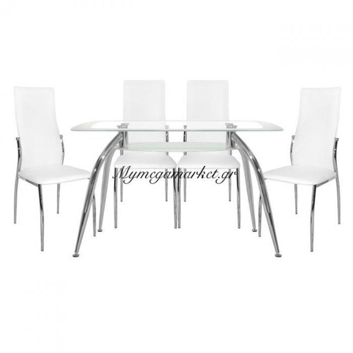 Σέτ Τραπεζαρία 5 Τμχ Τραπέζι Norris 120Χ75-Kim Λευκές Hm10060.01 | Mymegamarket.gr
