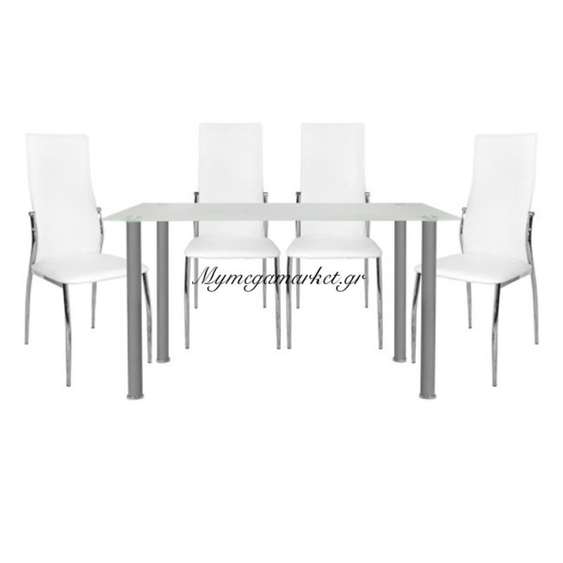 Σέτ Τραπεζαρία 5 Τμχ Τραπέζι Alan 120Χ70-Kim Λευκές Hm10062.01