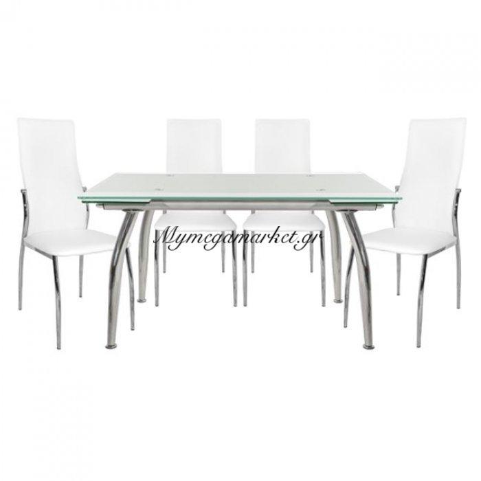 Σέτ Τραπεζαρία 5Tμχ Τραπέζι Loca 120Χ80-Kim Λευκές Hm10011.01 | Mymegamarket.gr