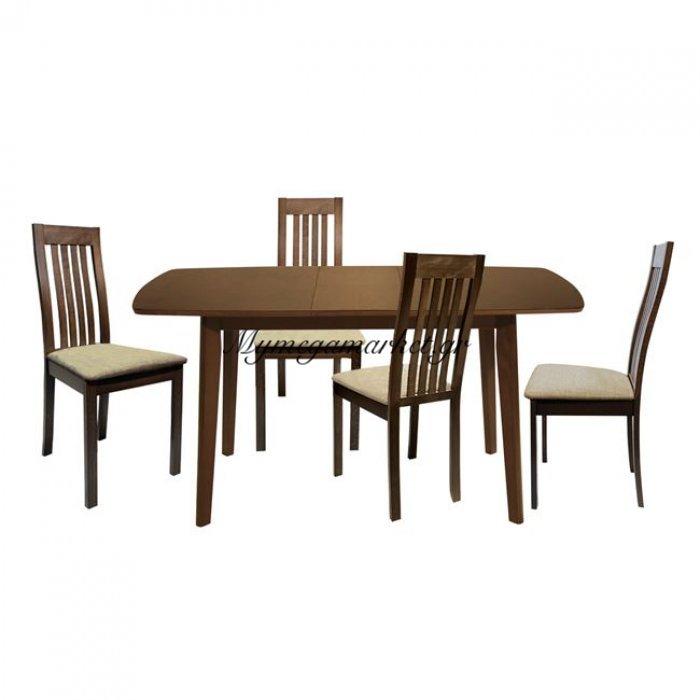 Σετ Τραπεζαρία 5 Τμχ Τραπέζι Καρυδί & Καρέκλες Μασίφ Hm10031   Mymegamarket.gr