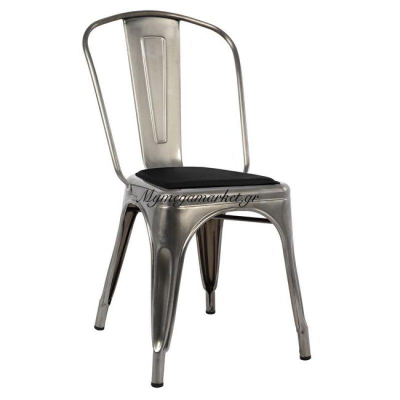 Καρέκλα Melita Natural & Κάθισμα Pu Μαύρο Hm8062.03