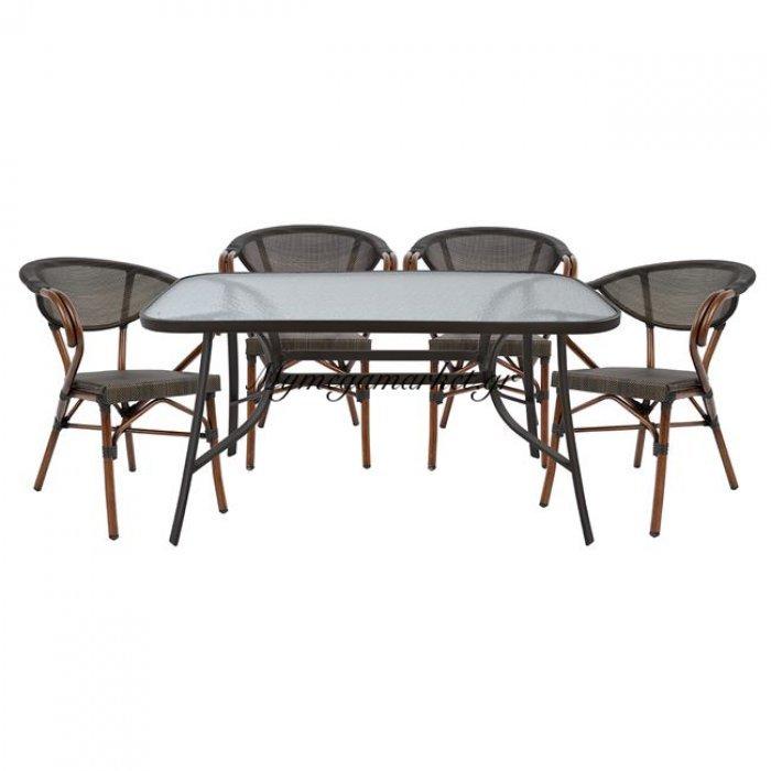 Σετ Τραπεζαρία 5Τμχ Bruno Καφέ & 4 Πολυθρόνες Bamboo Look Καφέ | Mymegamarket.gr