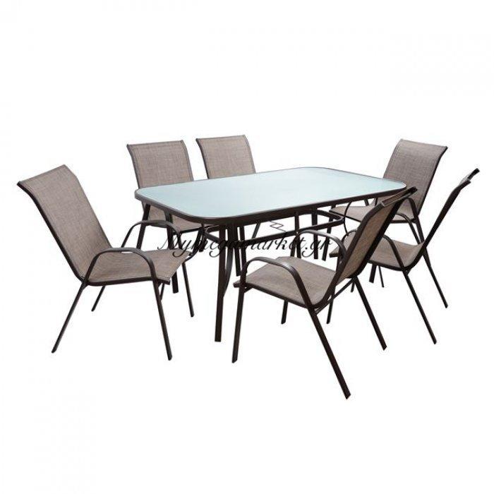 Σετ Τραπεζαρία 7Τμχ Τραπέζι & 6 Leon Με Καφέ Textline Hm5206.02 | Mymegamarket.gr