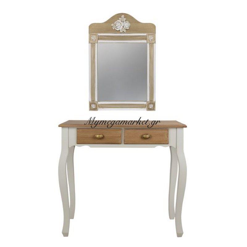 Κονσόλα & Καθρέπτης Melody Σε Εκρού Καφέ Πατίνα Hm10164