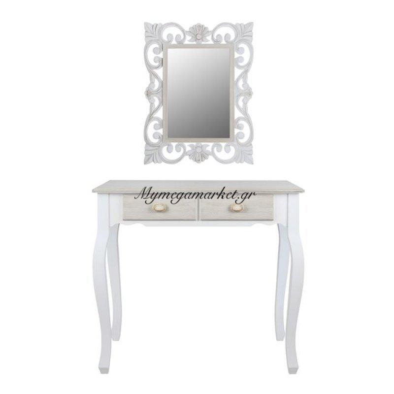 Κονσόλα Melody Με Καθρέπτη Firenze Σε Λευκή Γκρι Πατίνα