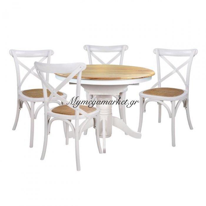Σετ Τραπεζαρίας 5 τεμαχίων Τραπέζι White Wash & Καρέκλες Forenza Hm10128   Mymegamarket.gr
