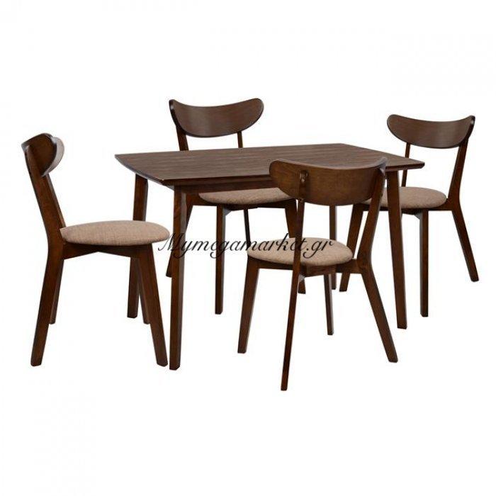 Σετ Τραπεζαρίας 5Τμχ Καρυδί Τραπέζι & Καρέκλες Roselyn Hm10127 | Mymegamarket.gr