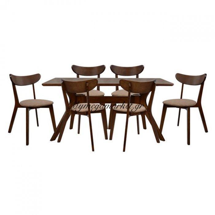 Σετ Τραπεζαρίας 7Τμχ Καρυδί Τραπέζι & Καρέκλες Roselyn Hm10068   Mymegamarket.gr