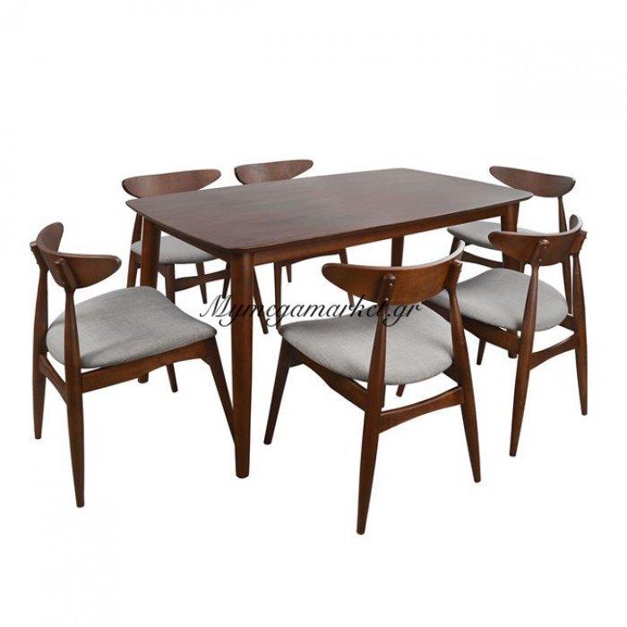 Σετ Τραπεζαρίας 7Τμ Καρυδί Pavillion & Καρέκλες Marjorie Hm10069   Mymegamarket.gr