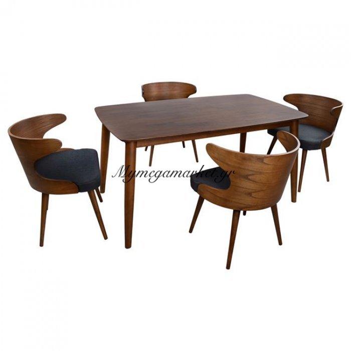 Σετ Τραπεζαρίας 5Τ Καρυδί Pavillion & Καρέκλες Bulova Hm10119   Mymegamarket.gr