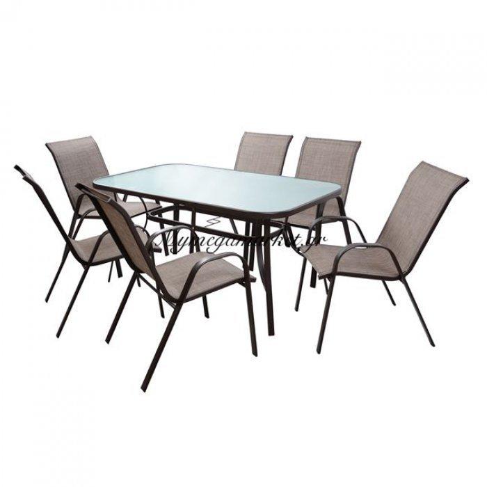 Σετ Τραπεζαρία 7Τμχ 1 Τραπεζι + 6 Καρέκλες Καφέ Hm5119.02 | Mymegamarket.gr