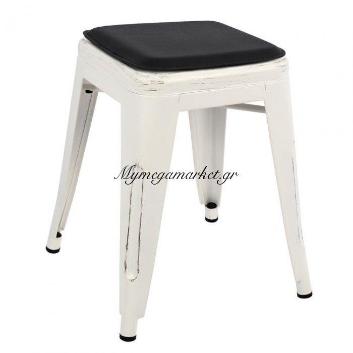Σκαμπω Melita Λευκή Πατίνα Και Κάθισμα Hm8064.05 | Mymegamarket.gr