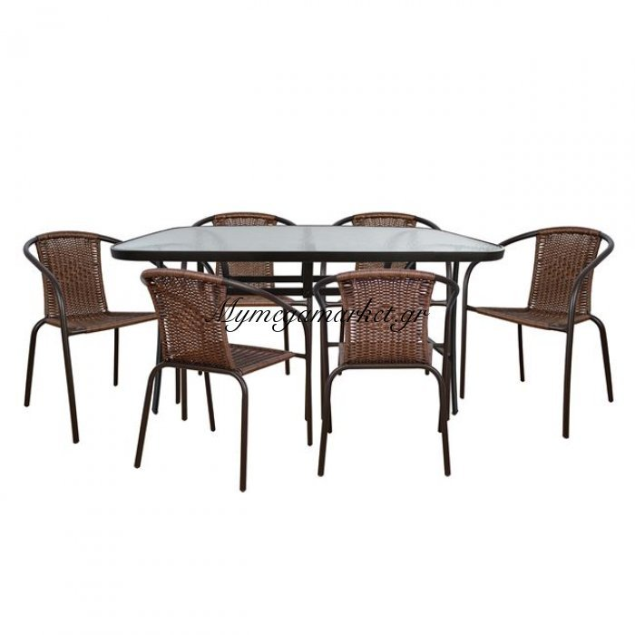 Σετ Τραπεζαρίας 7Τμχ Με Μεταλλικό Τραπέζι Και Καρέκλες Hm5202 | Mymegamarket.gr