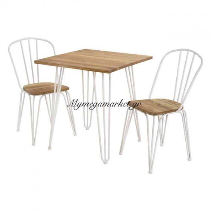 Σετ Τραπεζαρίας 3Τμχ Τραπέζι Milk White & Καρέκλες Hm10129 | Mymegamarket.gr