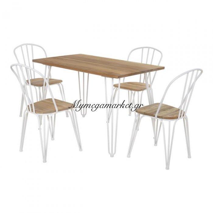 Σετ Τραπεζαρίας 5Τμχ Τραπέζι Milk White & Καρέκλες Hm10130 | Mymegamarket.gr