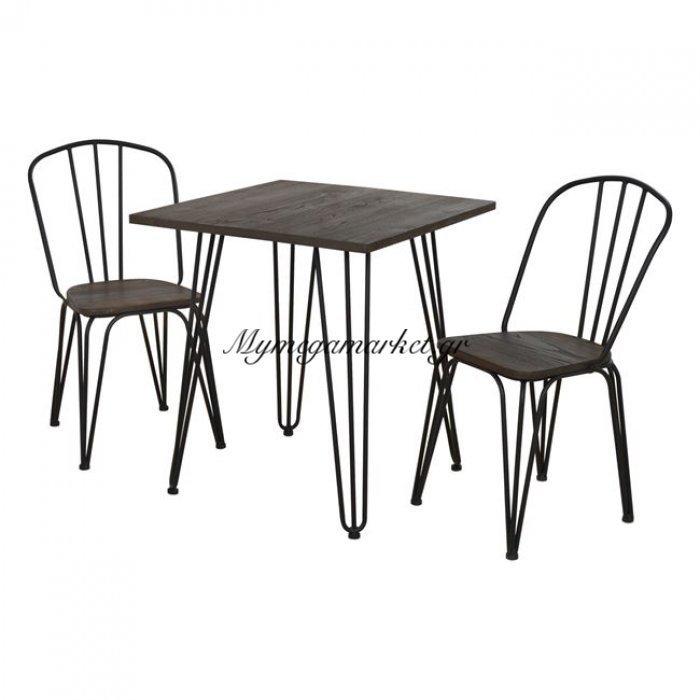 Σετ Τραπεζαρίας 3Τμχ Τραπέζι Μαύρο Ματ & Καρέκλες Hm10131   Mymegamarket.gr