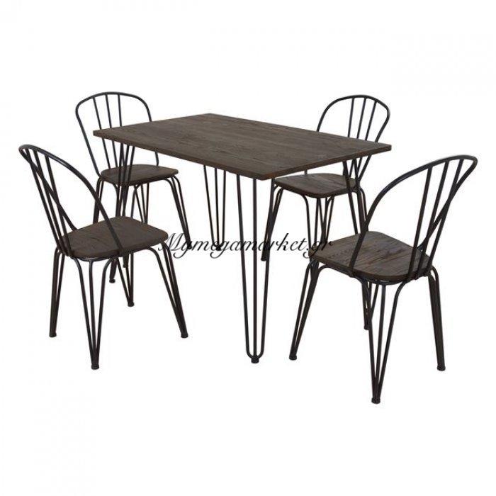 Σετ Τραπεζαρίας 5Τμχ Τραπέζι Μαύρο Ματ & Καρέκλες Hm10132   Mymegamarket.gr