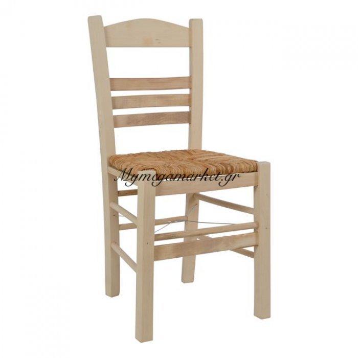 Καρέκλα Καφενείου Επιλοχία Άβαφη  Με Ψάθα Hm5440 | Mymegamarket.gr