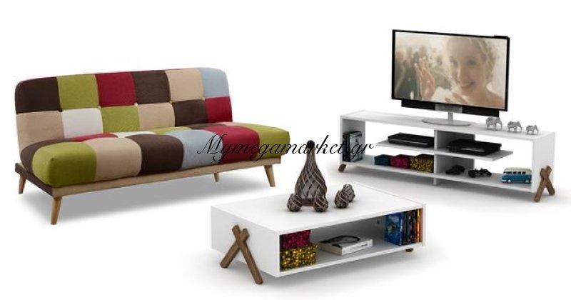 Σετ Φοιτητικό 3Τμχ Καναπές Έπιπλο Tv & Τραπέζι Σαλονιού Hm10286 | Mymegamarket.gr