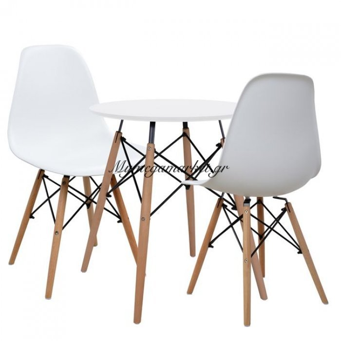 Σετ 3Tμχ Τραπεζαρίας Λευκό Τραπέζι & Καρέκλες Hm10297   Mymegamarket.gr