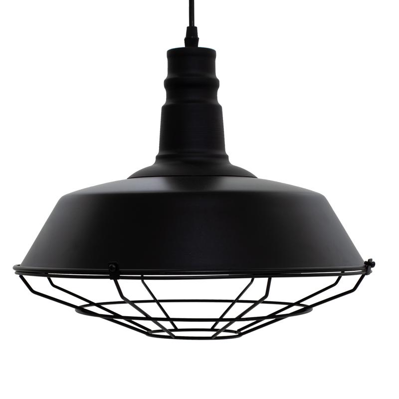Κρεμαστό Μεταλλικό Φωτιστικό Οροφής Pwl-0016 Μαύρο Ματ Χρώμα Φ40X28Εκ