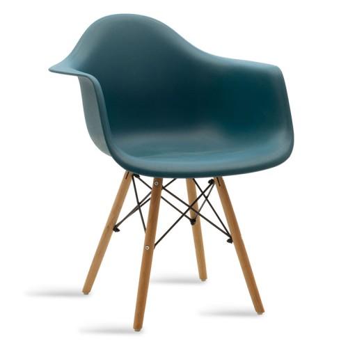 Πολυθρόνα Julita Pakoworld Πολυπροπυλενίου Χρώμα Σκούρο Μπλε - Φυσικό