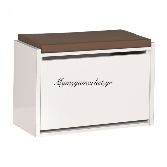 Παπουτσοθήκη-Σκαμπώ Entrance  Σε Λευκό Χρώμα Χωρητικότητας 6 Ζεύγη 63X31X45 Εκ | Mymegamarket.gr