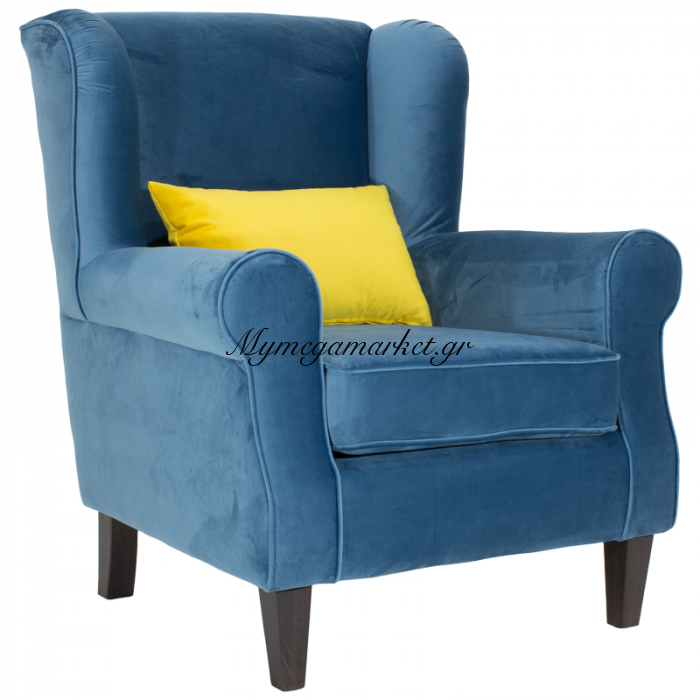 Πολυθρόνα President Με Επένδυση Βελούδου Χρώματος Μπλε Διάστασης 83X86X99 Εκ | Mymegamarket.gr