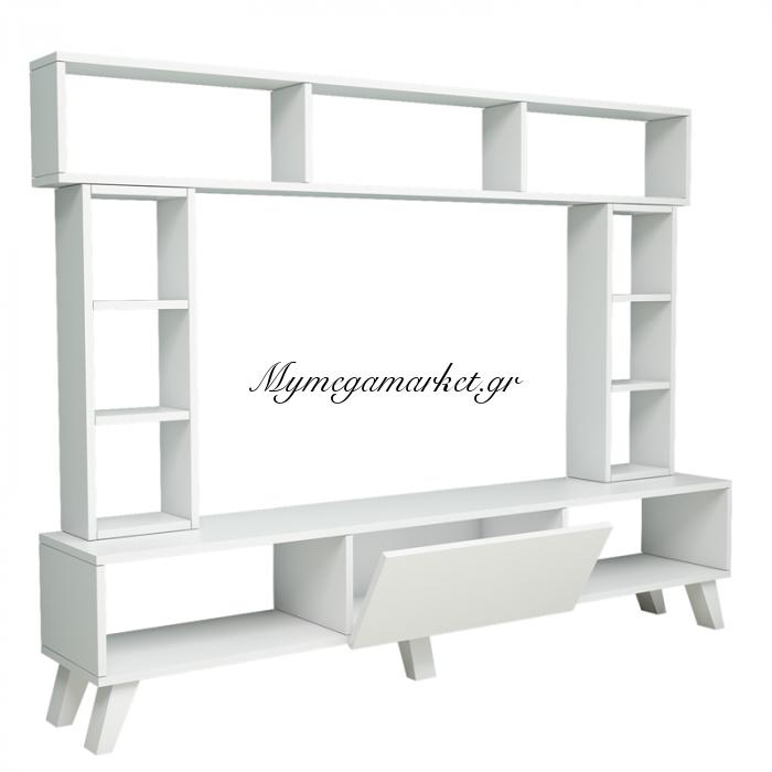 Σύνθεση Σαλονιού Tv Unit  Σε Λευκό Χρώμα 181X31,5X166,5 Εκ | Mymegamarket.gr