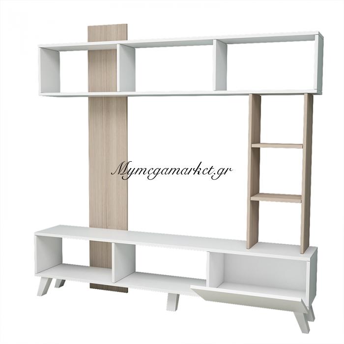 Σύνθεση Σαλονιού Tv Unit  Σε Λευκό - Φυσικό Χρώμα 181X33X181 Εκ | Mymegamarket.gr