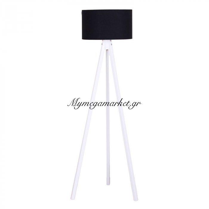 Φωτιστικό Δαπέδου Bibi Λευκά Ξύλινα Πόδια-Μαύρο Καπέλο 40X40X145Εκ | Mymegamarket.gr