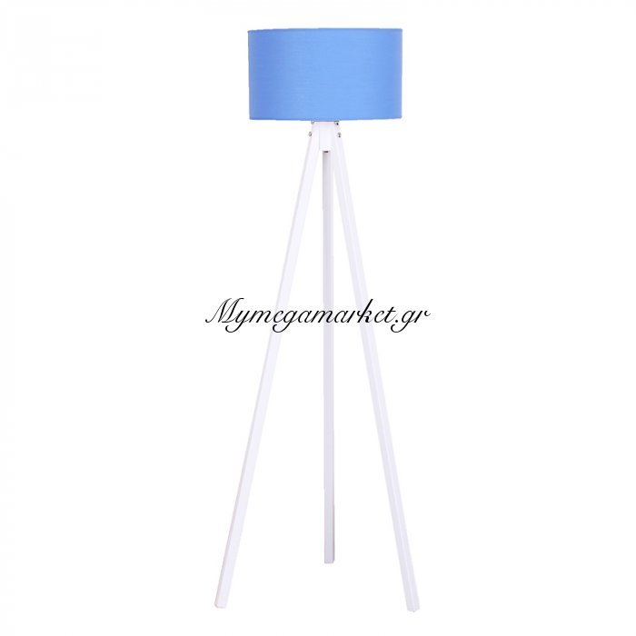 Φωτιστικό Δαπέδου Bibi Λευκά Ξύλινα Πόδια-Μπλε Καπέλο 40X40X145Εκ | Mymegamarket.gr