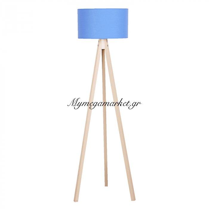 Φωτιστικό Δαπέδου Bibi Φυσικά Ξύλινα Πόδια-Μπλε Καπέλο 40X40X145Εκ | Mymegamarket.gr