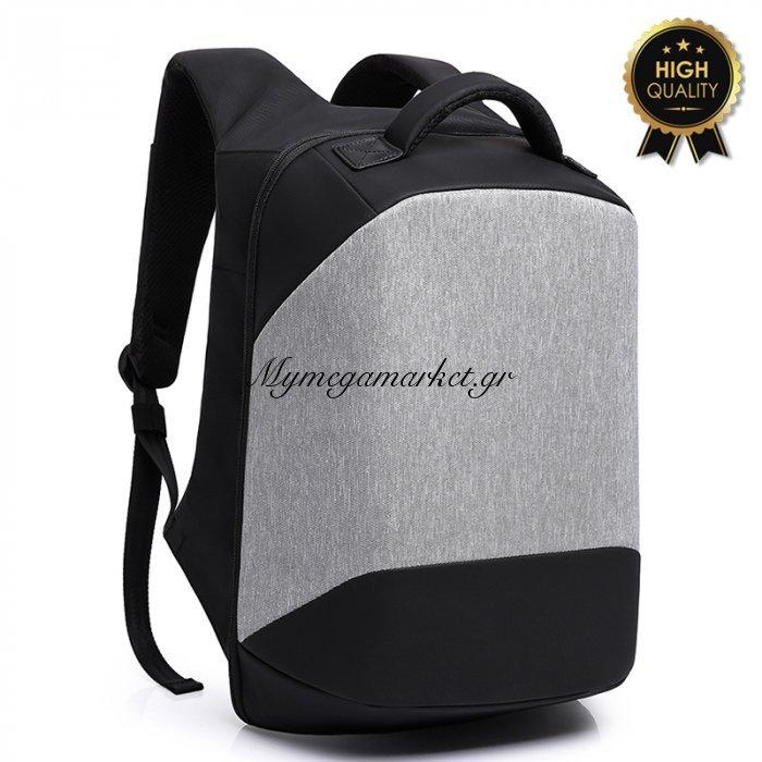 Σακίδιο Πλάτης Αντικλεπτικό Trv-003 Pakoworld Γκρι-Μαύρο Με Usb+Laptop 15'' | Mymegamarket.gr