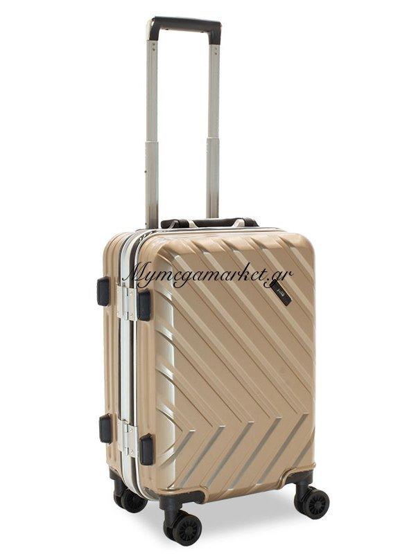 Βαλίτσα Καμπίνας Deluxe Με 4 Ρόδες Σκληρή Από Abs+Pc Σαμπανιζέ 38X26X58Εκ | Mymegamarket.gr