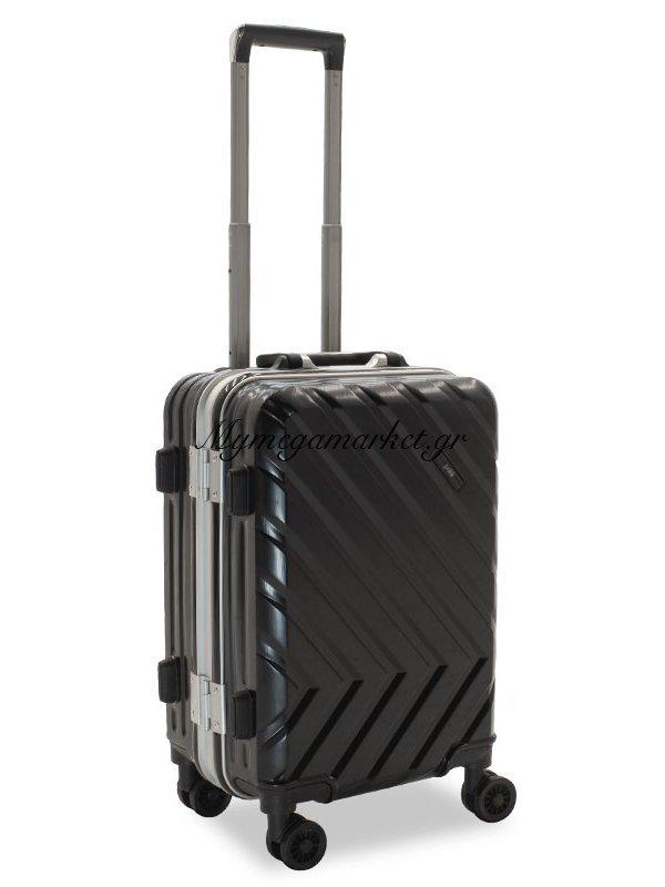Βαλίτσα Καμπίνας Deluxe Με 4 Ρόδες Σκληρή Από Abs+Pc Μαύρο 38X26X58Εκ | Mymegamarket.gr