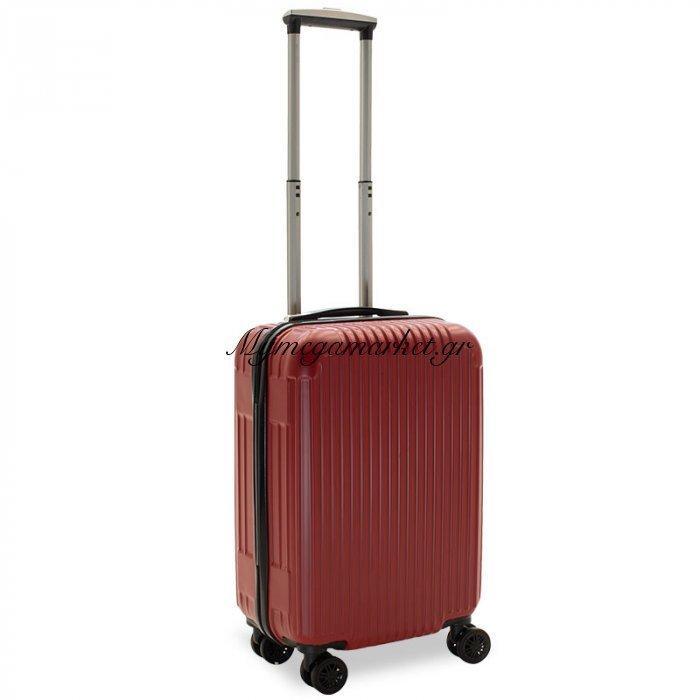 Βαλίτσα Καμπίνας Lido Με 4 Ρόδες Σκληρή Από Abs+Pc Κόκκινο 35X23X56Εκ | Mymegamarket.gr