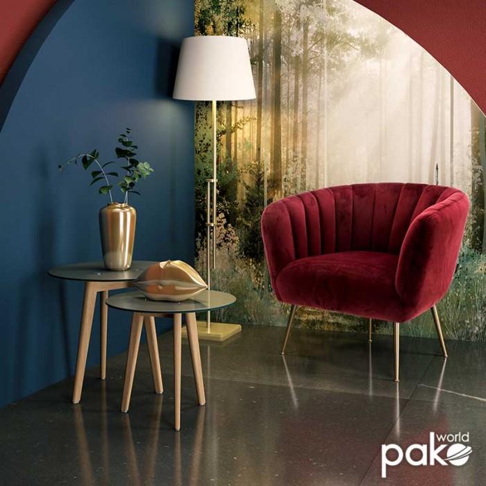 Πολυθρόνα Poison Με Βελούδο Χρώμα Μπορντώ 78X71X69Εκ | Mymegamarket.gr
