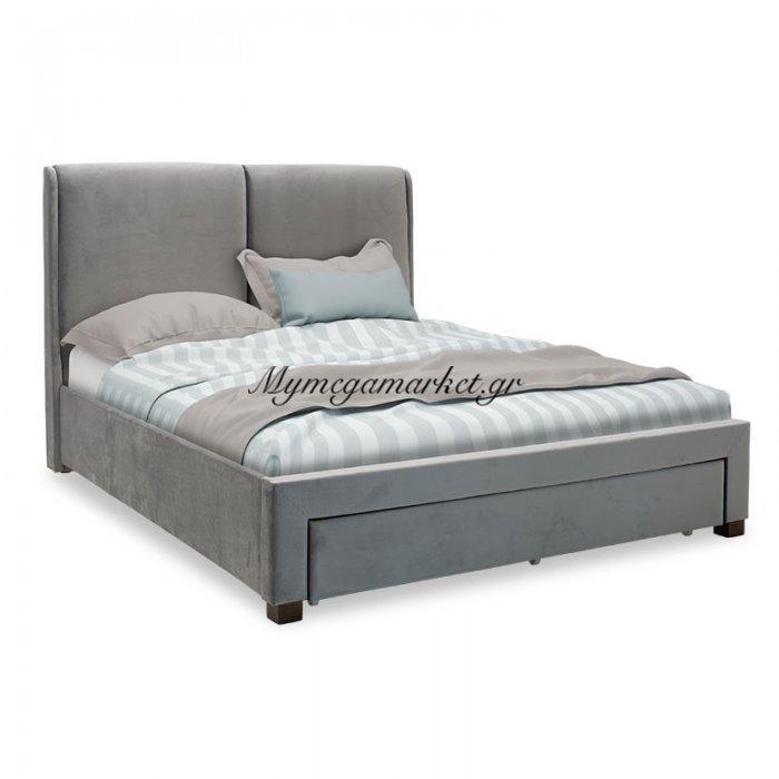 Κρεβάτι Valia Pakoworld Διπλό 160X200Εκ Βελούδο Γκρι - Ανατομικές Τάβλες | Mymegamarket.gr