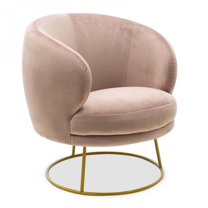Πολυθρόνα Rony Pakoworld Βελούδο Ροζ-Χρυσό 78X75X82Εκ | Mymegamarket.gr