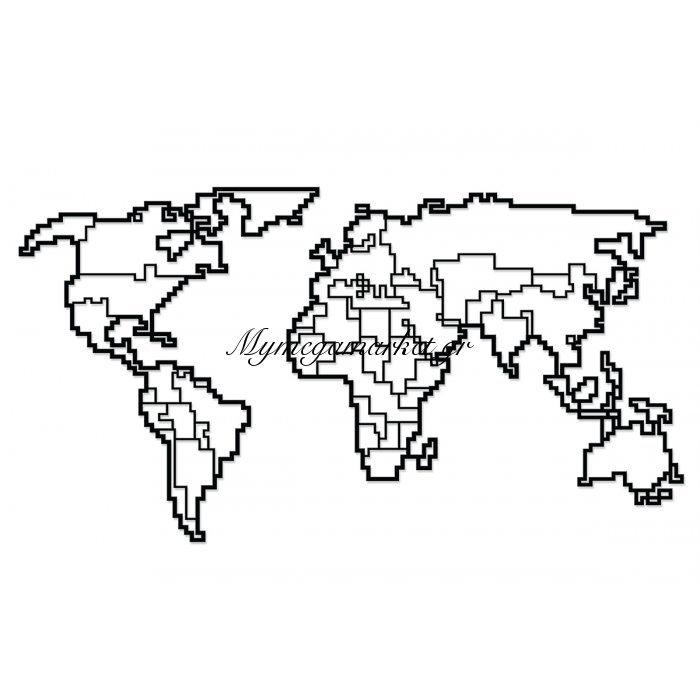 Μεταλλικό Διακοσμητικό Τοίχου World Map 57,8X0,3X43,7Εκ | Mymegamarket.gr