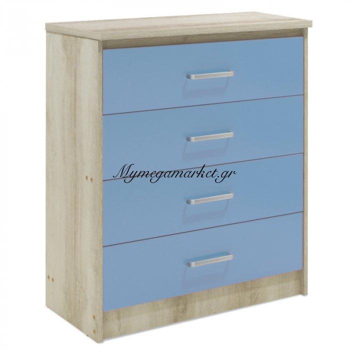 Συρταριέρα Παιδική Looney Με 4 Συρτάρια Χρώμα Castillo-Μπλε 80X40X95Εκ | Mymegamarket.gr