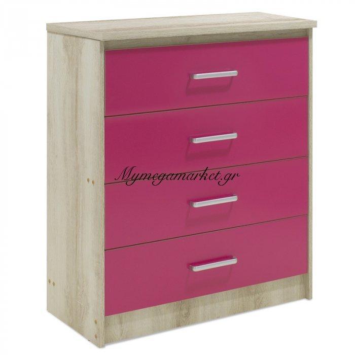 Συρταριέρα Παιδική Looney Με 4 Συρτάρια Χρώμα Castillo-Ροζ 80X40X95Εκ | Mymegamarket.gr