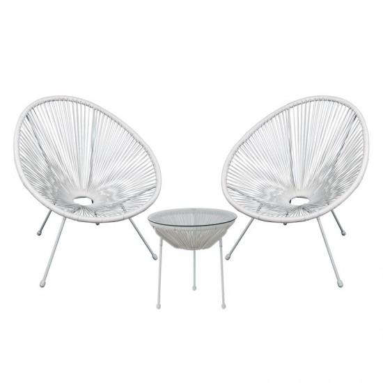 Acapulco Set Κήπου - Βεράντας: Τραπέζι + 2 Πολυθρόνες Μέταλλο Άσπρο/rattan Άσπρο Table:Φ50x50cm Chair:73x76x89