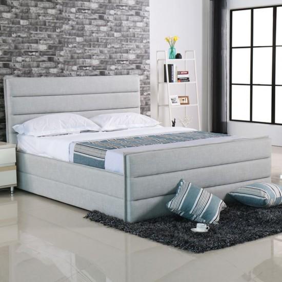 Apollo Κρεβάτι Διπλό, Για Στρώμα 160X200Cm, Ύφασμα Απόχρωση Sand Grey 172x218x116cm