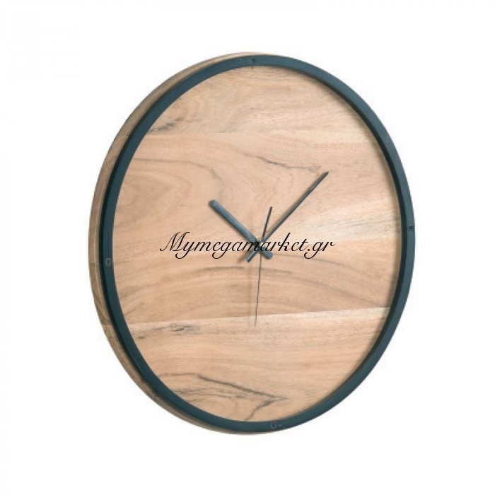 Clock-3 Ρολόι Τοίχου Φ40X4Cm Ακακία Φυσικό/μεταλ.μαύρο | Mymegamarket.gr