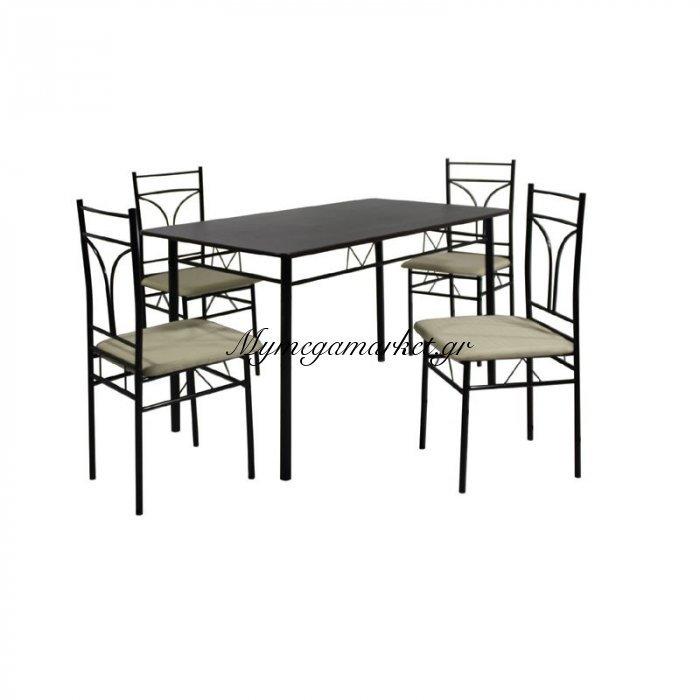Corado Set (Τραπ.120X70Cm+4 Καρέκ) Μεταλ.μαύρο/mdf Wenge (Ύφ.εκρού)   Mymegamarket.gr