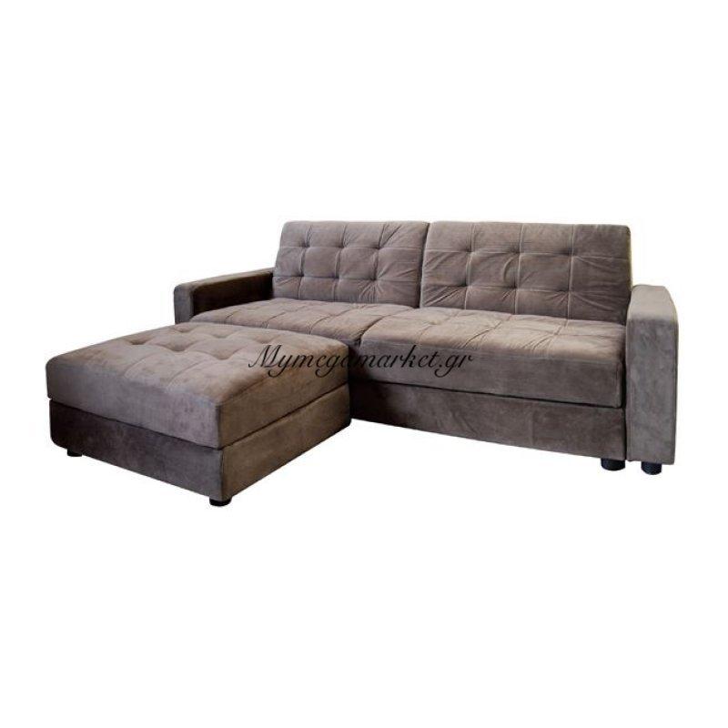 Jackson Καναπ.κρεβάτι+Σκαμπώ Ύφ.grey Brown Στην κατηγορία Σαλόνια | Mymegamarket.gr