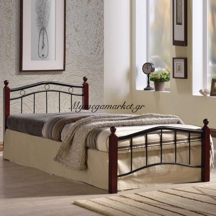 Victor Κρεβάτι Ημίδιπλο 110X200Cm Mέταλ.μαύρο/ξύλο Καρυδί | Mymegamarket.gr
